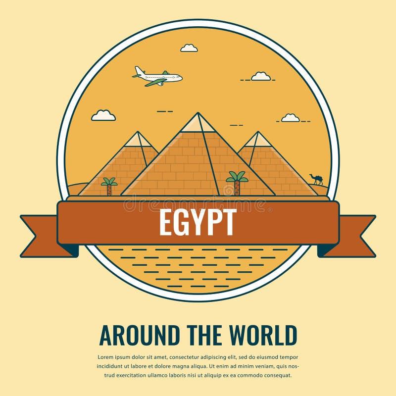 Señales del mundo Egipto Fondo del viaje y del turismo Línea estilo del arte Vector stock de ilustración