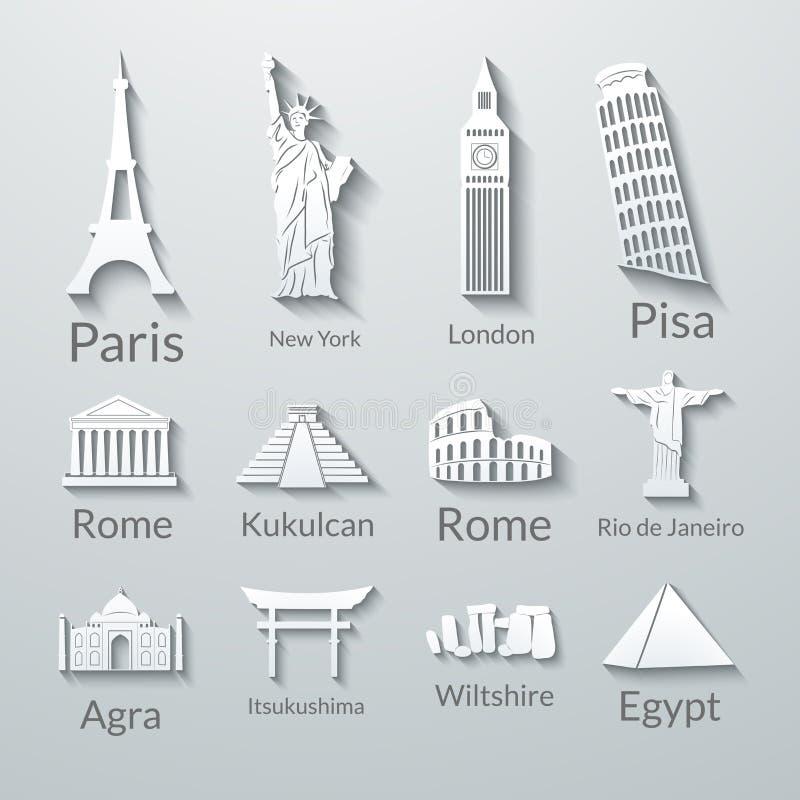 Señales del mundo, iconos de papel fijados stock de ilustración
