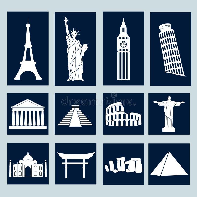 Señales del mundo, iconos fijados stock de ilustración