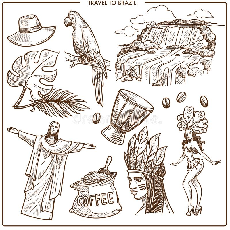 Señales del viaje del Brasil y bosquejo famoso de los símbolos del turismo Vecto libre illustration
