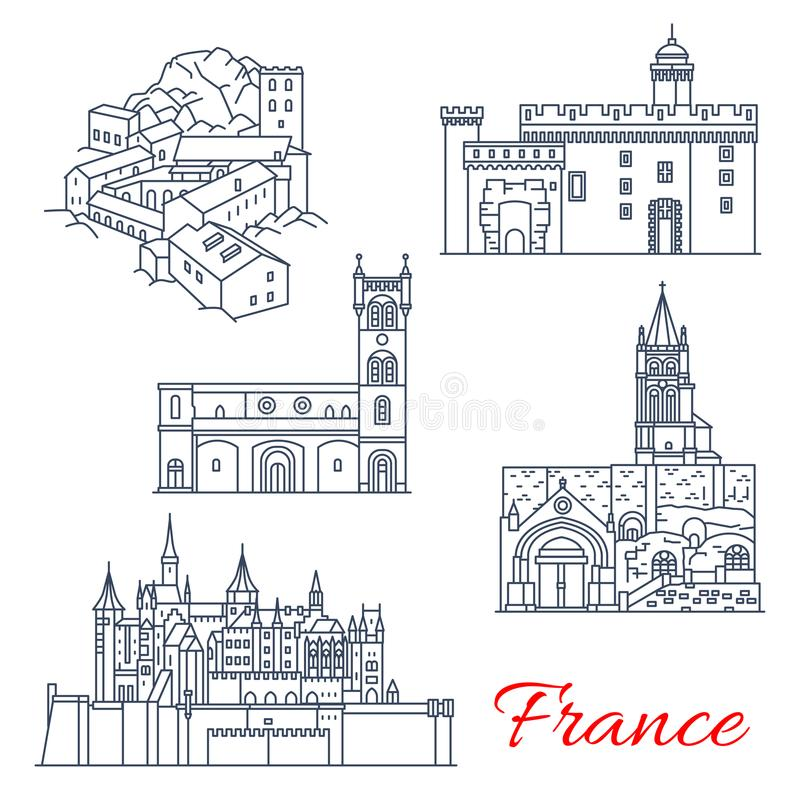 Señales del viaje de Francia de viajes en Aquitania ilustración del vector