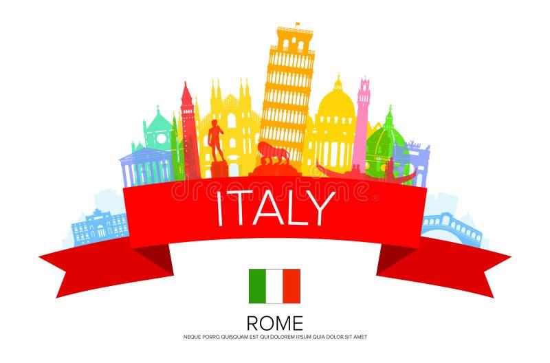 Señales del viaje de Italia ilustración del vector
