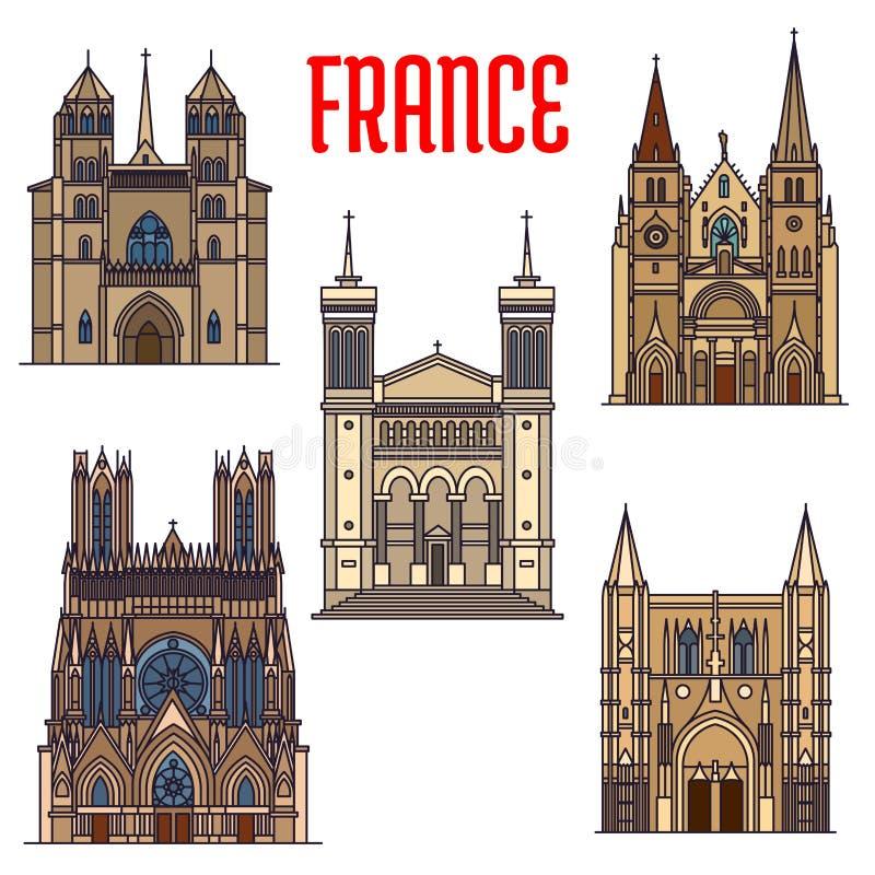 Señales del viaje de la arquitectura gótica francesa ilustración del vector