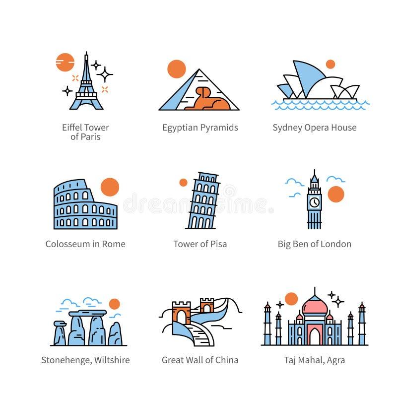 Señales del viaje de la ciudad e iconos de la atracción turística ilustración del vector