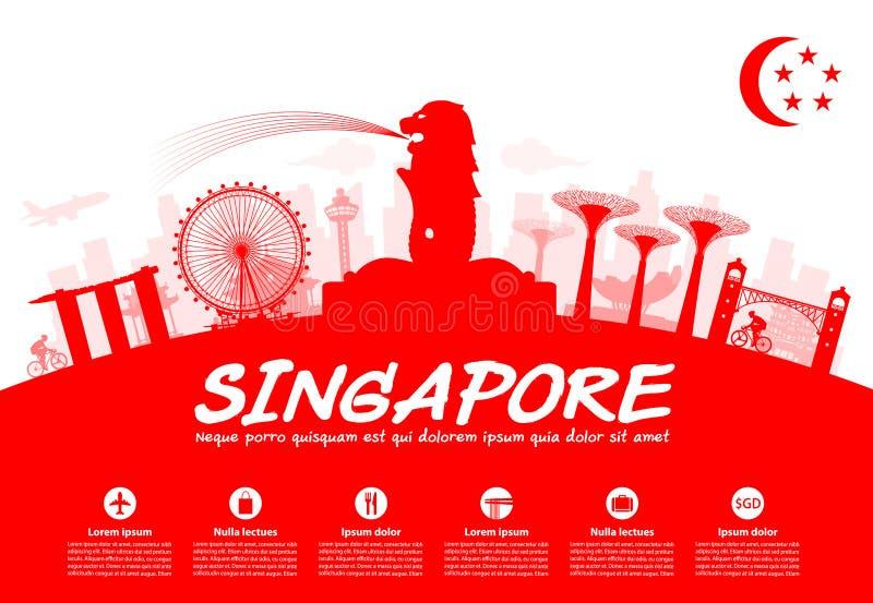 Señales del viaje de Singapur stock de ilustración