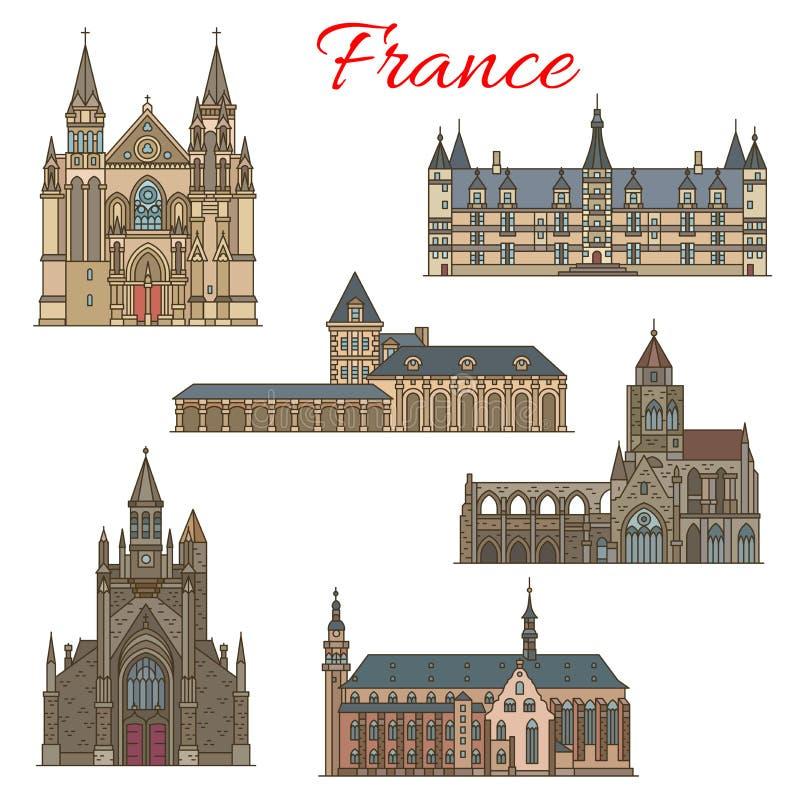 Señales del viaje del francés y edificios medievales libre illustration