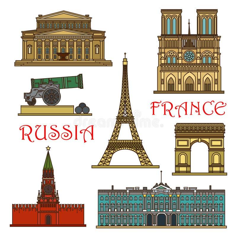 Señales del viaje línea fina icono de Francia, Rusia libre illustration