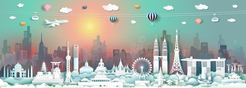 Señales del viaje del vector de Asia con el rascacielos y la salida del sol colorida fotografía de archivo libre de regalías