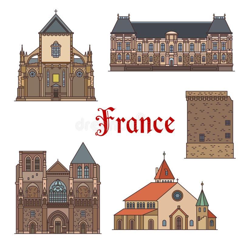 Señales del viaje y vistas turísticas de Francia ilustración del vector