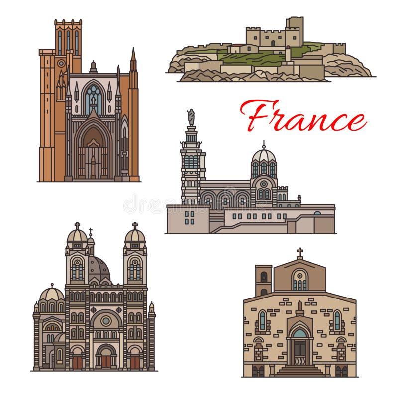 Señales del viaje y vistas turísticas del icono de Francia stock de ilustración