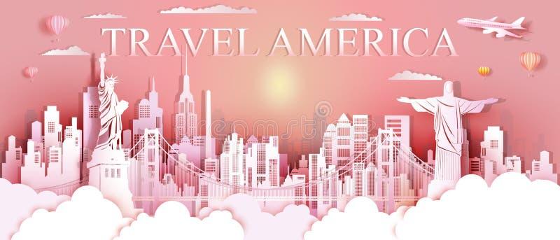 Señales Estados Unidos del viaje y arquitectura famosa del monumento de Suramérica imagen de archivo