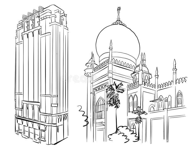 Señales famosas de la mezquita y de la arquitectura de Singapur libre illustration