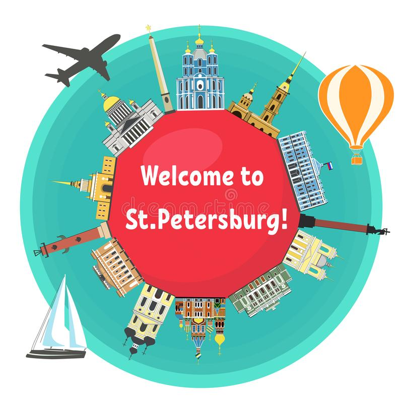 Señales famosas de St Petersburg stock de ilustración