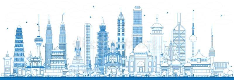 Señales famosas del esquema en Asia ilustración del vector