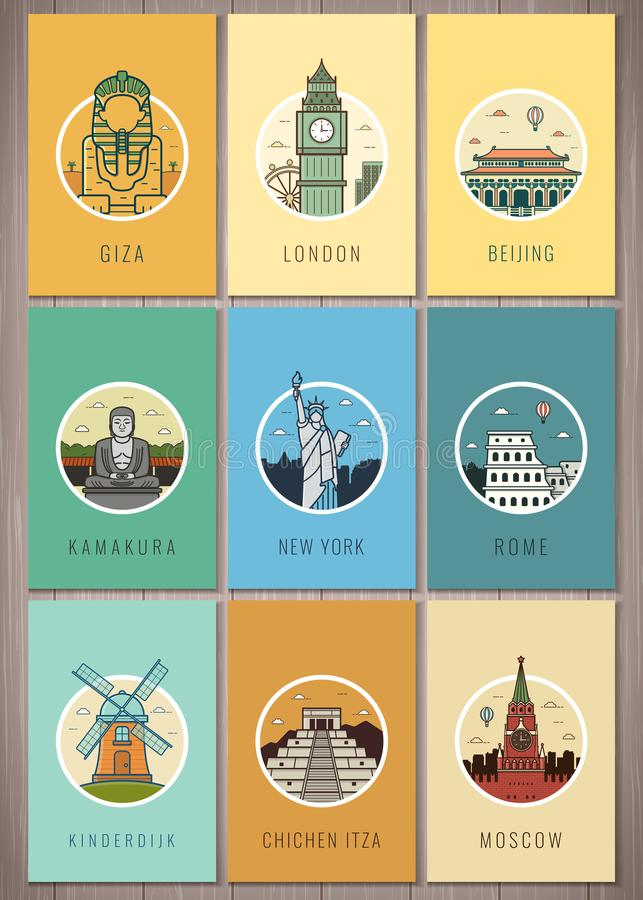 Señales famosas en el mundo Viaje y turismo Iconos de las señales fijados Vector stock de ilustración