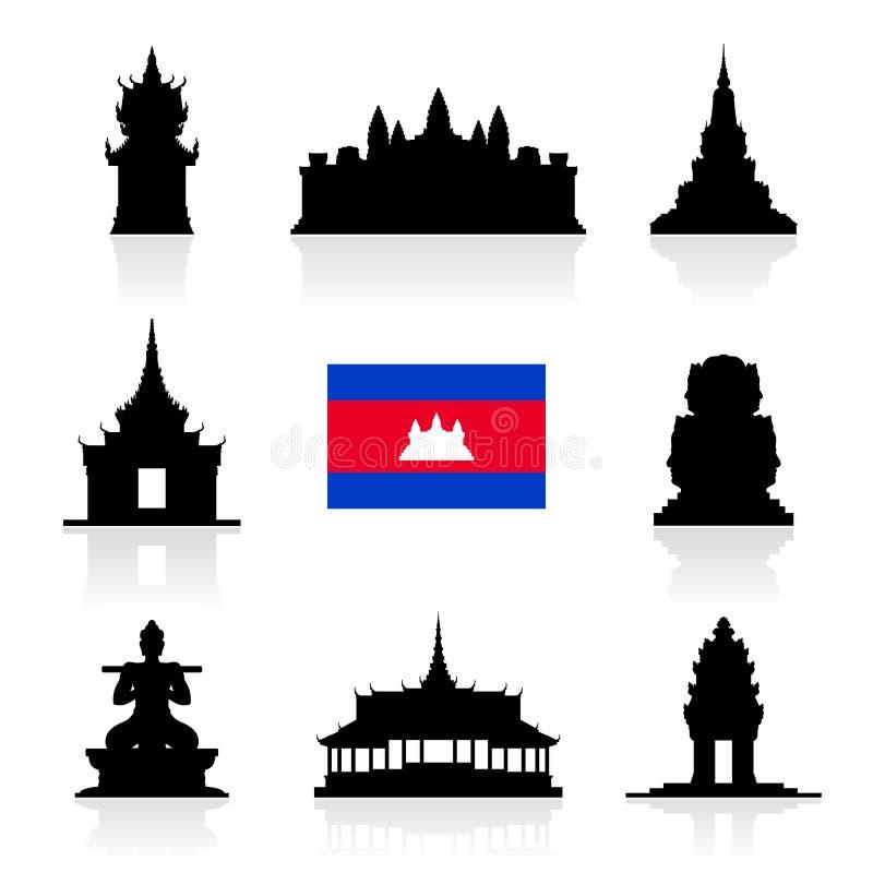 Señales hermosas del viaje de Camboya stock de ilustración