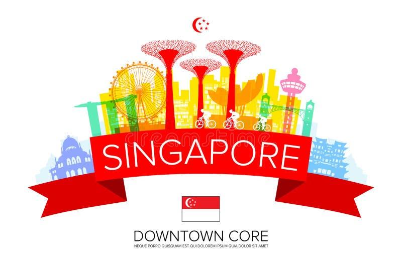 Señales hermosas del viaje de Singapur stock de ilustración