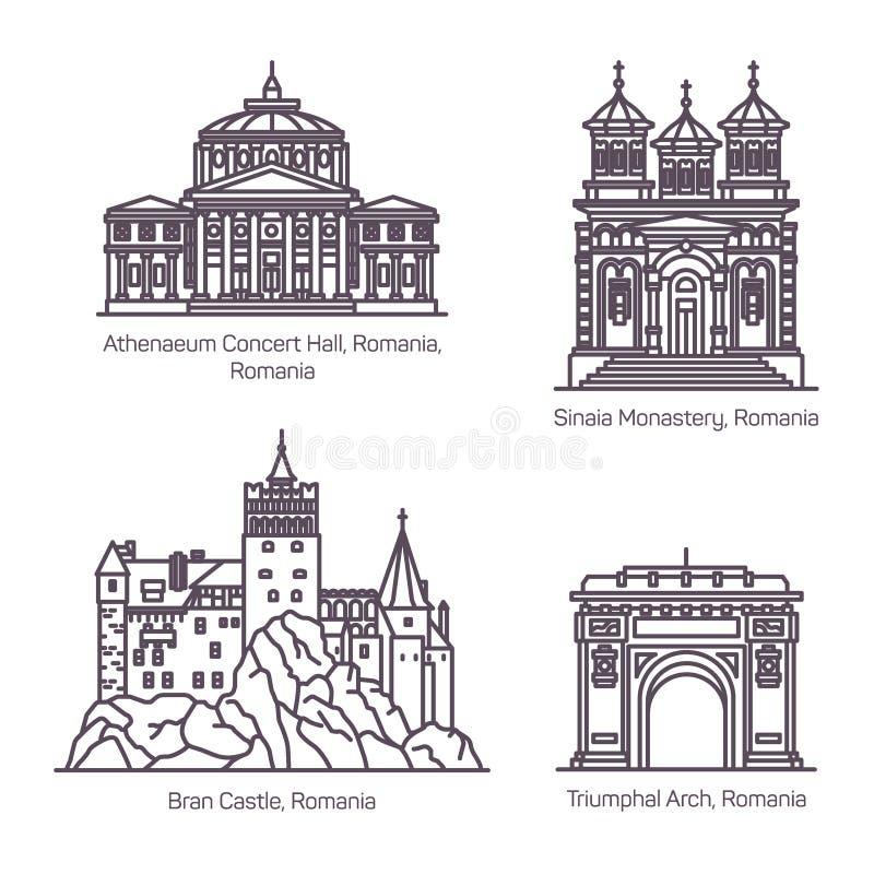 Señales turísticas famosas de Rumania en línea fina stock de ilustración