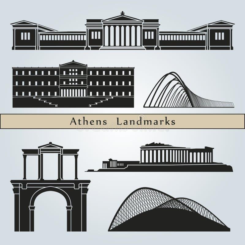 Señales y monumentos de Atenas ilustración del vector