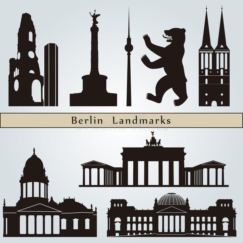 Señales y monumentos de Berlín stock de ilustración