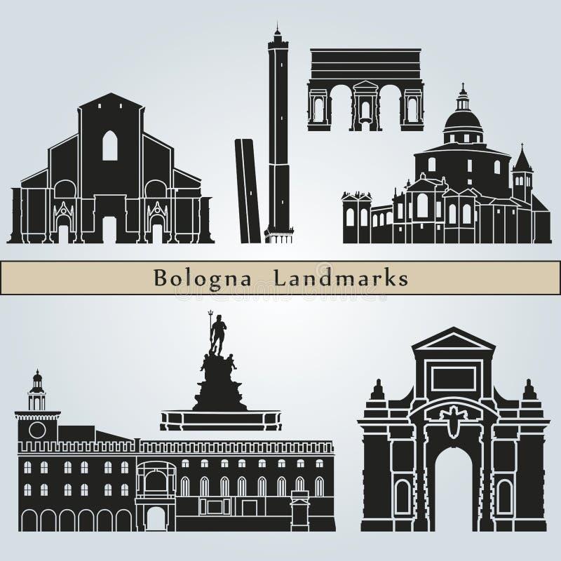 Señales y monumentos de Bolonia stock de ilustración
