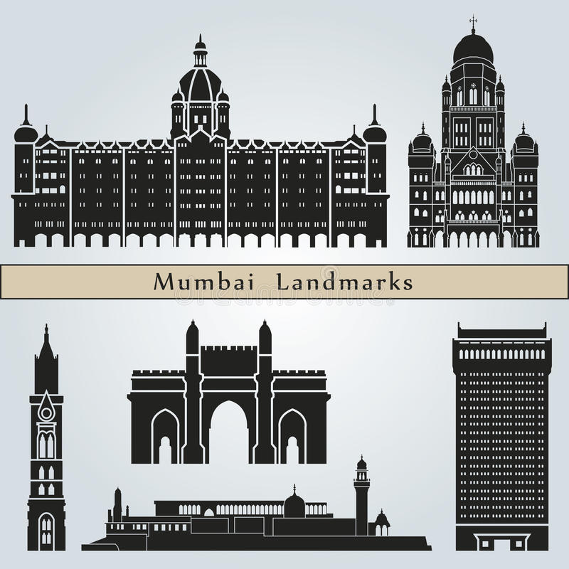 Señales y monumentos de Bombay stock de ilustración