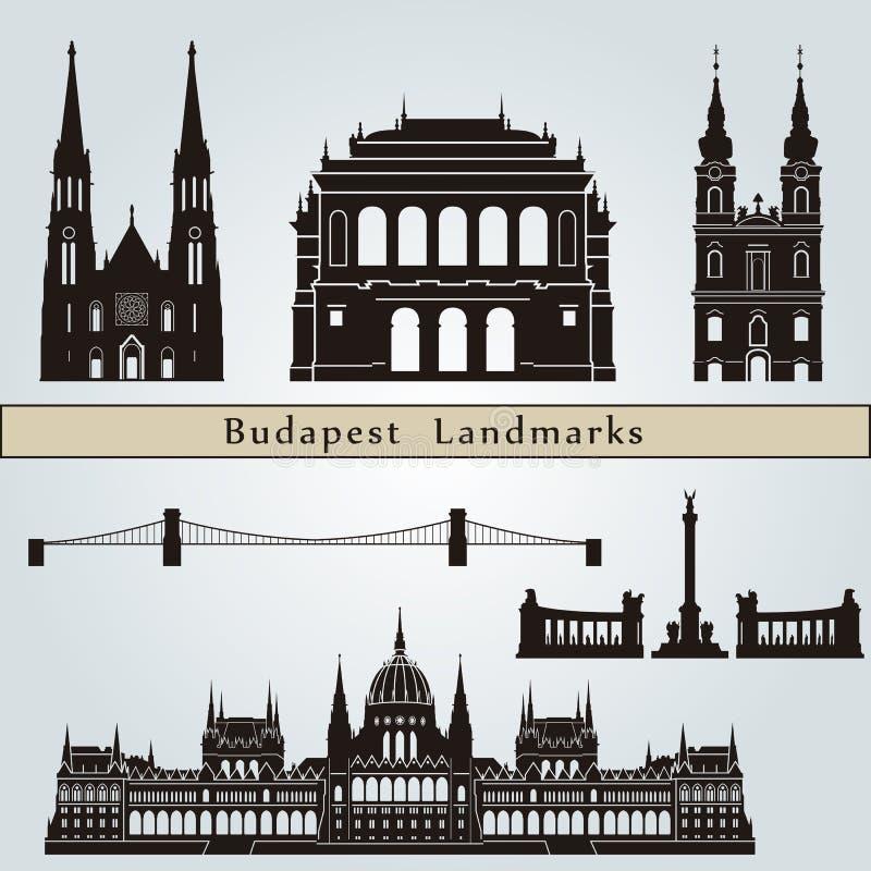 Señales y monumentos de Budapest stock de ilustración
