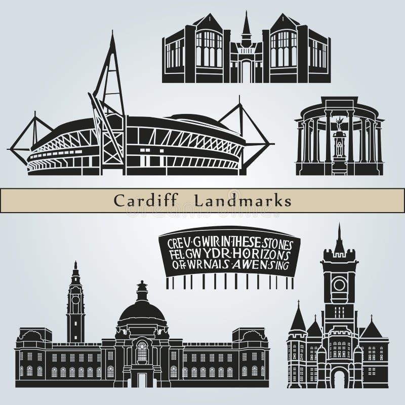 Señales y monumentos de Cardiff ilustración del vector