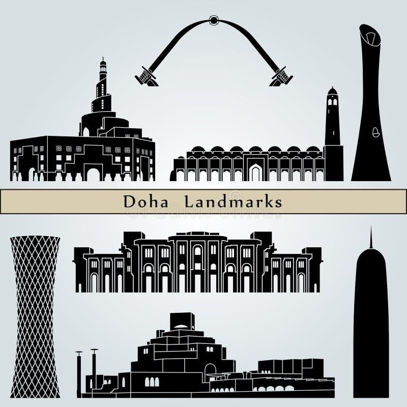 Señales y monumentos de Doha stock de ilustración
