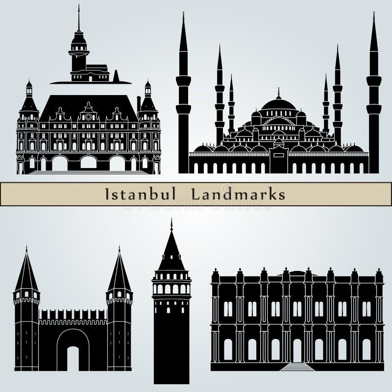 Señales y monumentos de Estambul stock de ilustración