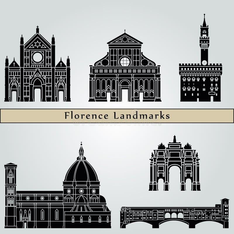 Señales y monumentos de Florencia stock de ilustración
