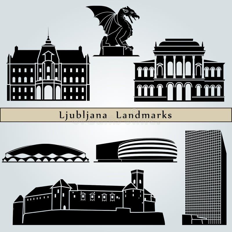 Señales y monumentos de Ljubljana libre illustration