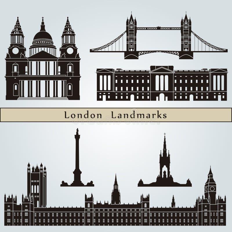 Señales y monumentos de Londres ilustración del vector