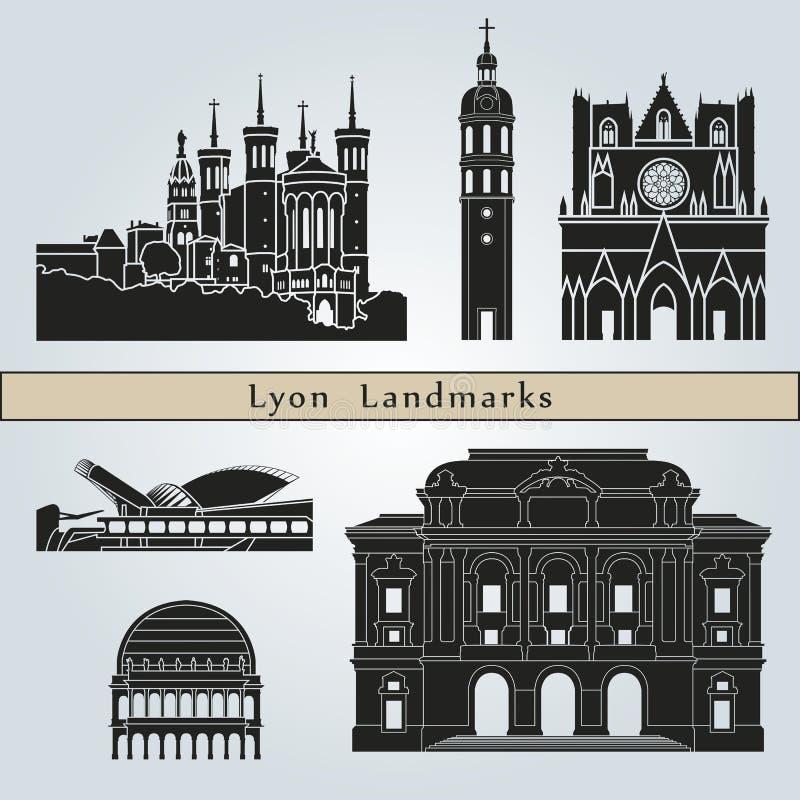 Señales y monumentos de Lyon ilustración del vector