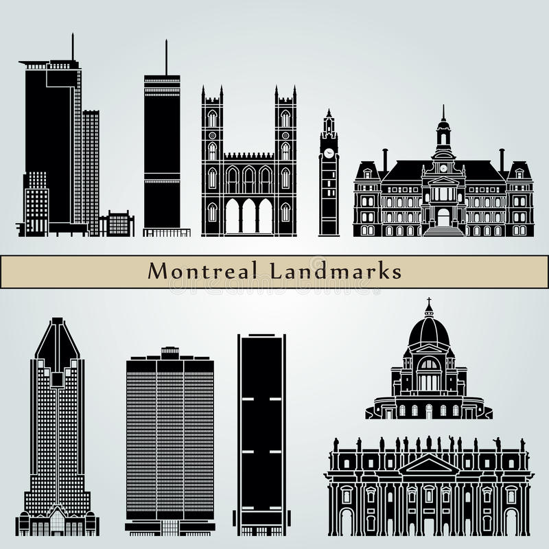 Señales y monumentos de Montreal ilustración del vector