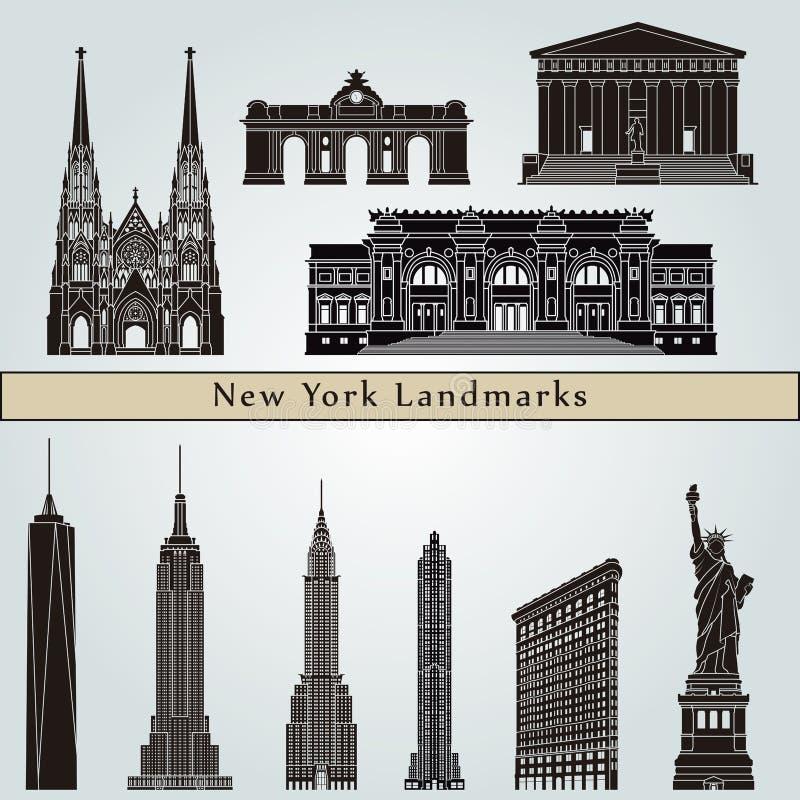 Señales y monumentos de Nueva York stock de ilustración
