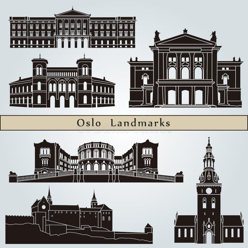 Señales y monumentos de Oslo stock de ilustración