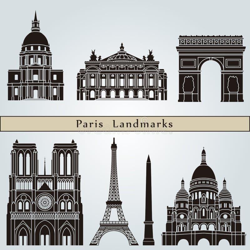 Señales y monumentos de París ilustración del vector