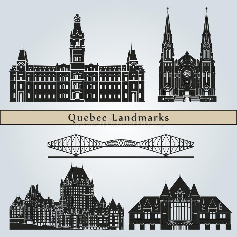 Señales y monumentos de Quebec ilustración del vector