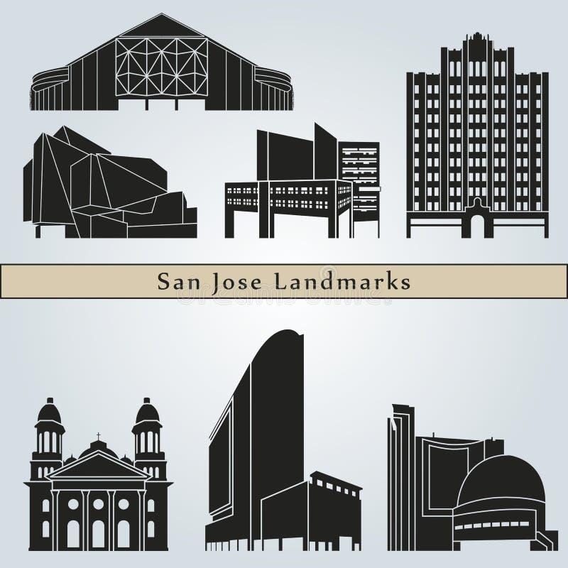 Señales y monumentos de San Jose stock de ilustración