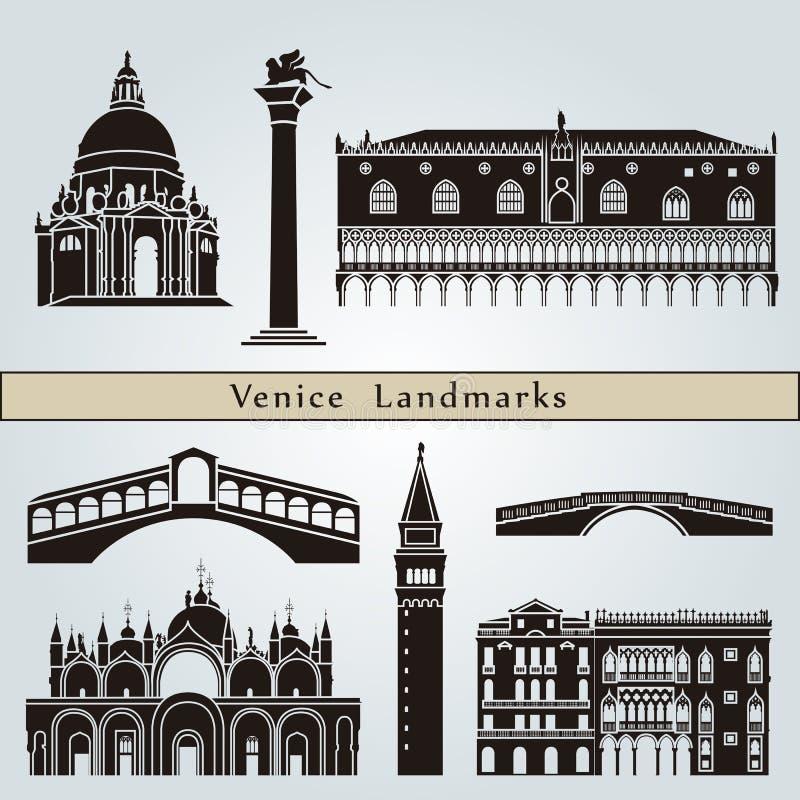 Señales y monumentos de Venecia stock de ilustración