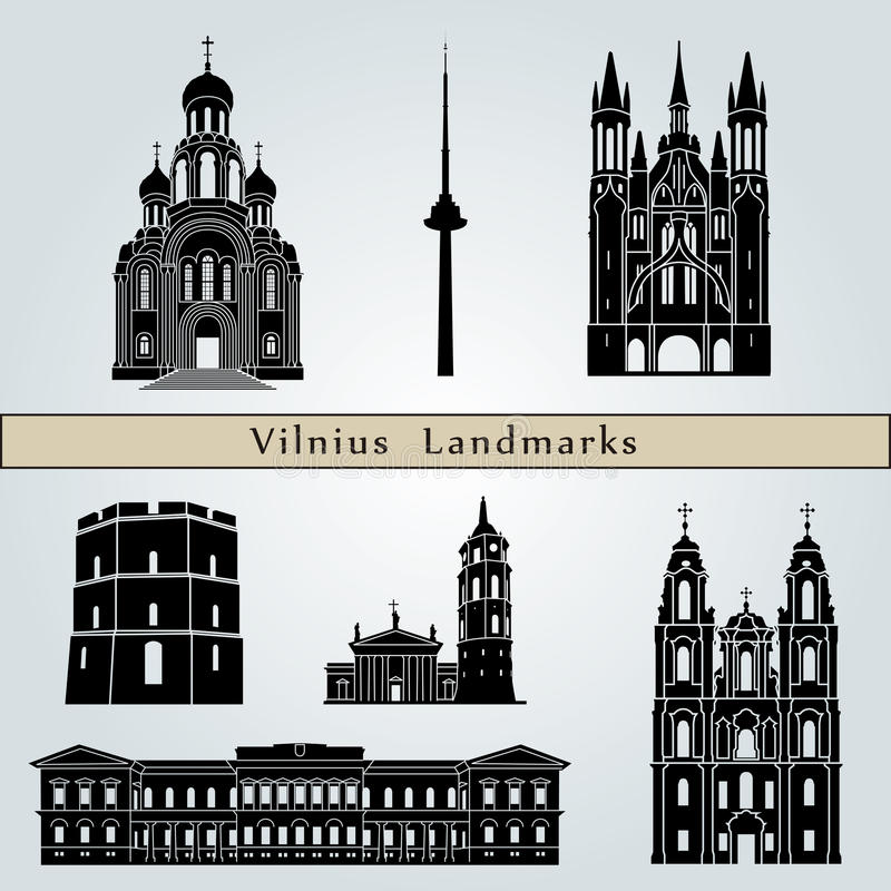 Señales y monumentos de Vilna ilustración del vector