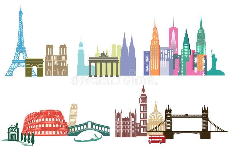 Señales y monumentos globales ilustración del vector