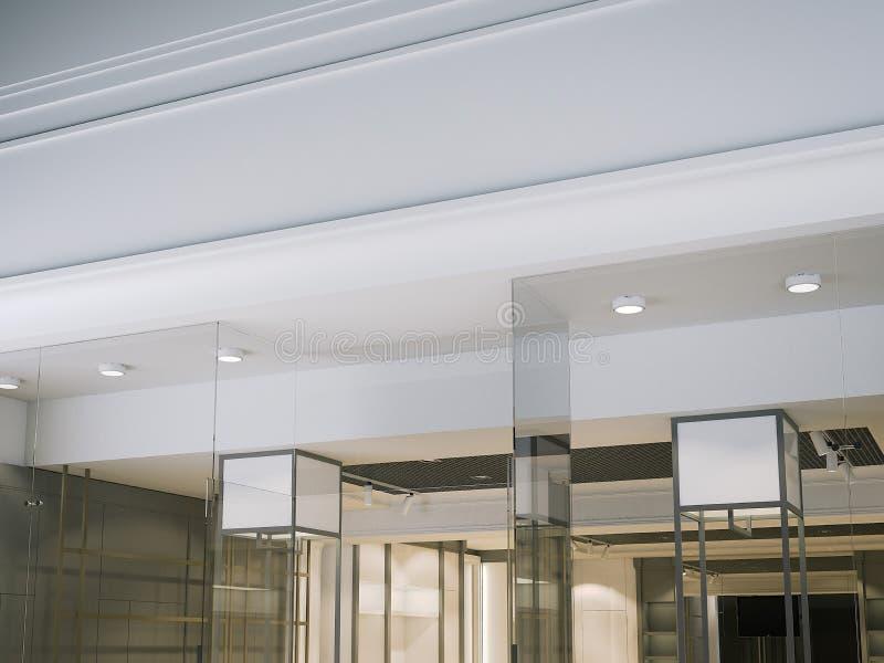 Señalización blanca en blanco en la tienda moderna representación 3d ilustración del vector