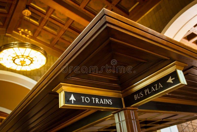 Señalización de la estación de la unión de Los Ángeles imagen de archivo libre de regalías