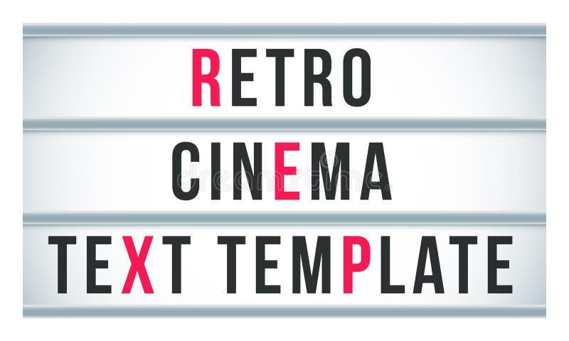 Señalización del lightbox de la muestra de la carpa Cine del vector o cartelera retro del letrero del teatro libre illustration