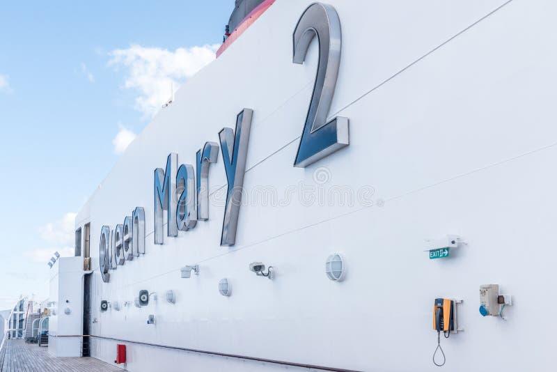 Señalización del RMS Queen Mary 2 fotografía de archivo