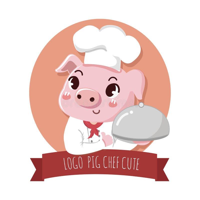 Señalización linda del cerdo del cocinero del logotipo libre illustration