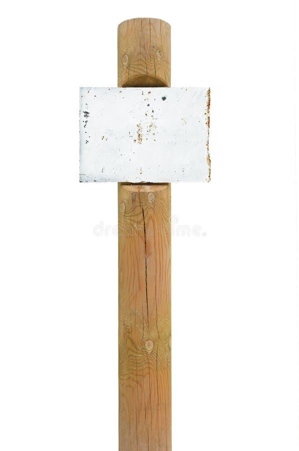 Señalización oxidada del tablero de la muestra del metal, posts de madera del polo del poste indicador fotos de archivo