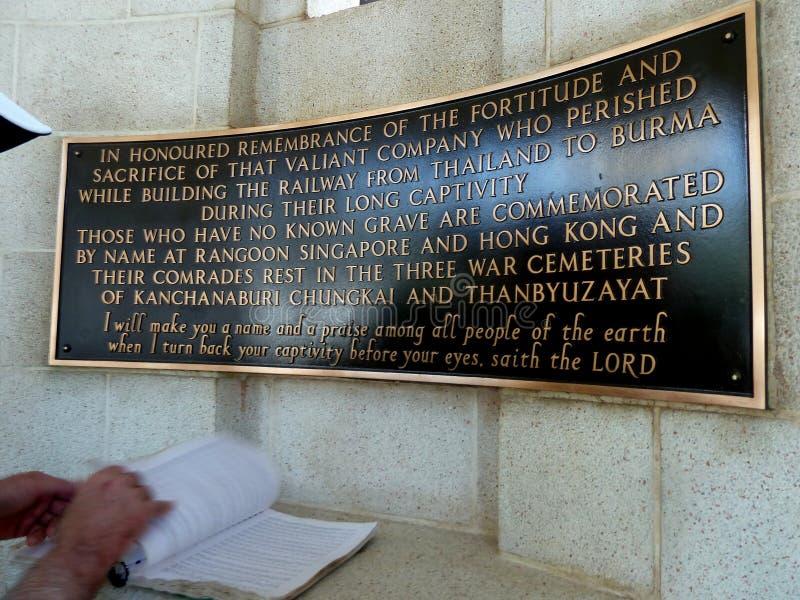 Señalización para el cementerio de la guerra de Kanchanaburi imagen de archivo libre de regalías